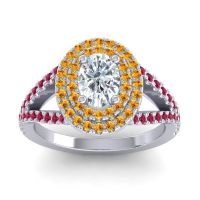 Ornate Oval Halo Dhala Diamond Ring with Citrine and Ruby in 18k White Gold