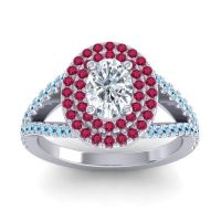 Ornate Oval Halo Dhala Diamond Ring with Ruby and Aquamarine in 14k White Gold