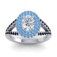 Ornate Oval Halo Dhala Diamond Ring with Swiss Blue Topaz and Black Onyx in Palladium