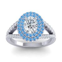 Ornate Oval Halo Dhala Diamond Ring with Swiss Blue Topaz in 14k White Gold
