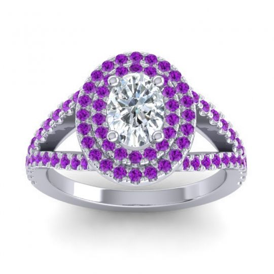 Ornate Oval Halo Dhala Diamond Ring with Amethyst in Platinum