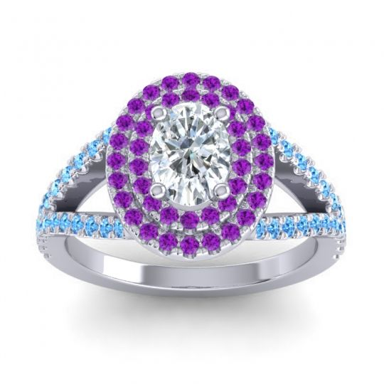 Ornate Oval Halo Dhala Diamond Ring with Amethyst and Swiss Blue Topaz in Platinum