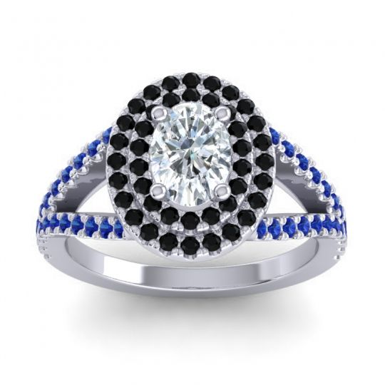 Ornate Oval Halo Dhala Diamond Ring with Black Onyx and Blue Sapphire in 14k White Gold