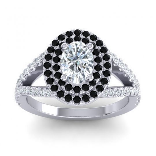 Ornate Oval Halo Dhala Diamond Ring with Black Onyx in Platinum