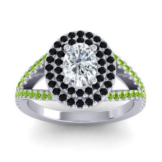 Ornate Oval Halo Dhala Diamond Ring with Black Onyx and Peridot in Palladium