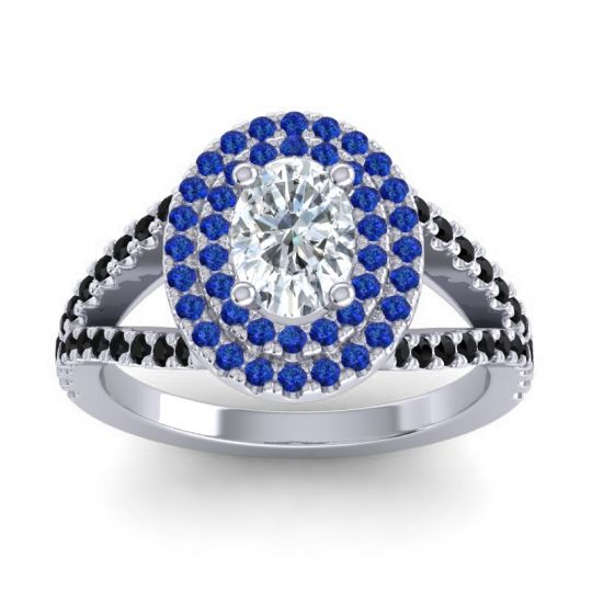 Ornate Oval Halo Dhala Diamond Ring with Blue Sapphire and Black Onyx in Platinum