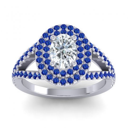 Ornate Oval Halo Dhala Diamond Ring with Blue Sapphire in Platinum