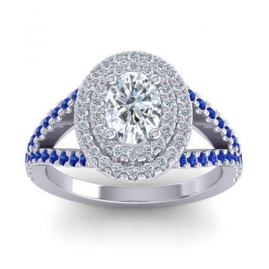 Ornate Oval Halo Dhala Diamond Ring with Blue Sapphire in Palladium