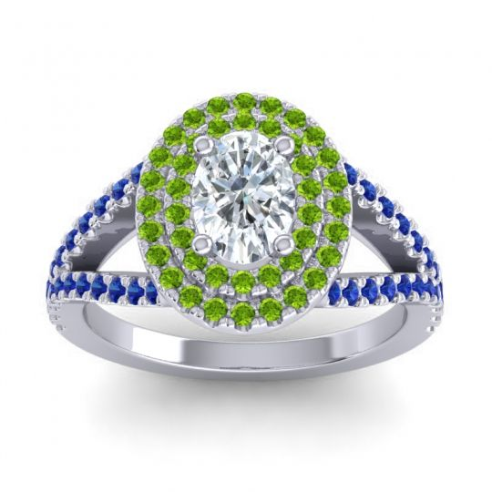 Ornate Oval Halo Dhala Diamond Ring with Peridot and Blue Sapphire in Palladium