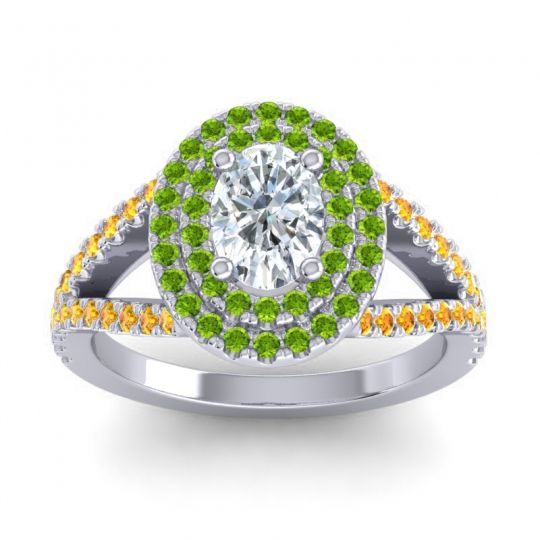 Ornate Oval Halo Dhala Diamond Ring with Peridot and Citrine in 14k White Gold