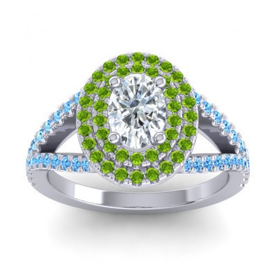 Ornate Oval Halo Dhala Diamond Ring with Peridot and Swiss Blue Topaz in Palladium