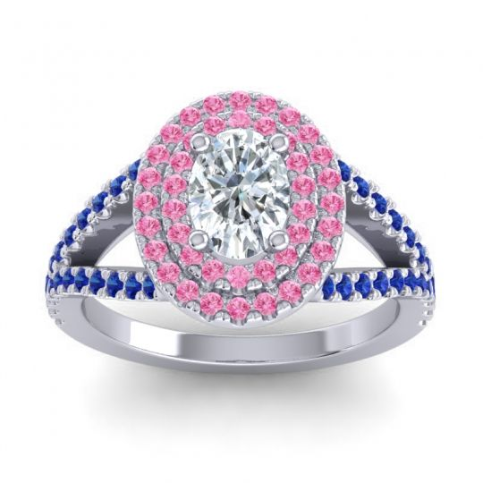 Ornate Oval Halo Dhala Diamond Ring with Pink Tourmaline and Blue Sapphire in 14k White Gold