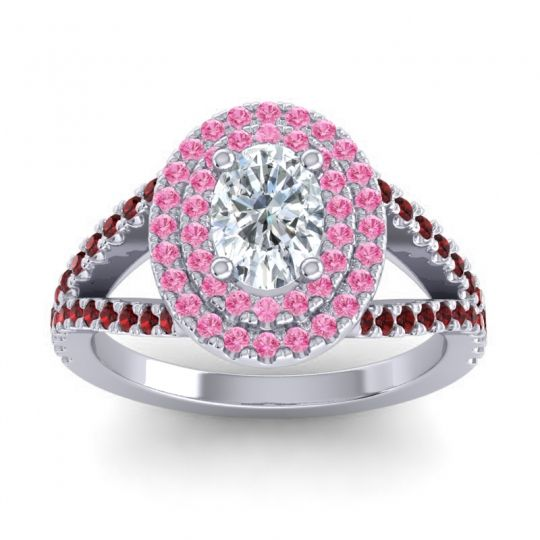 Ornate Oval Halo Dhala Diamond Ring with Pink Tourmaline and Garnet in Platinum