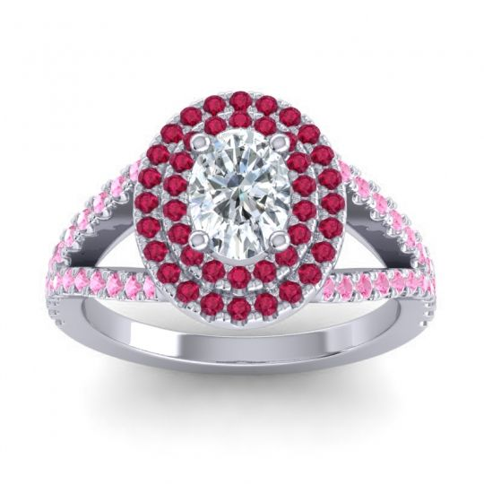 Ornate Oval Halo Dhala Diamond Ring with Ruby and Pink Tourmaline in Platinum