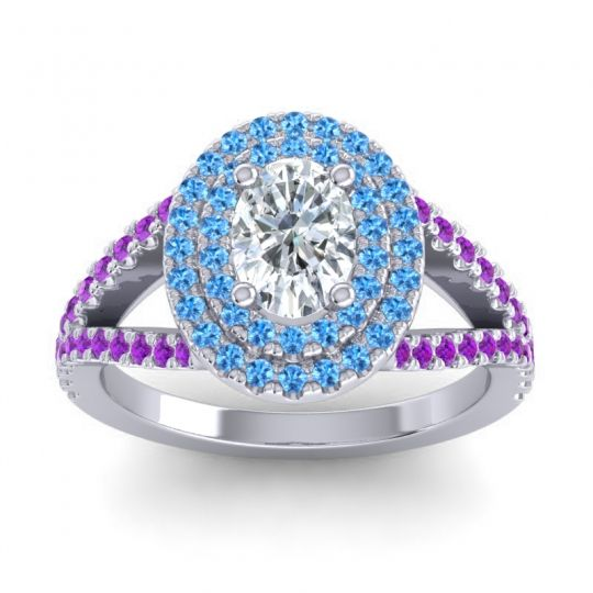 Ornate Oval Halo Dhala Diamond Ring with Swiss Blue Topaz and Amethyst in Palladium