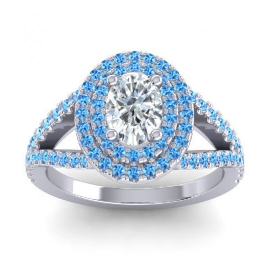Ornate Oval Halo Dhala Diamond Ring with Swiss Blue Topaz in 18k White Gold