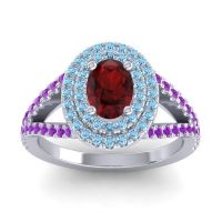 Ornate Oval Halo Dhala Garnet Ring with Aquamarine and Amethyst in 18k White Gold