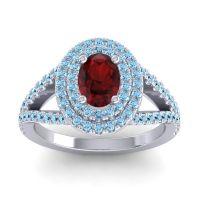 Ornate Oval Halo Dhala Garnet Ring with Aquamarine in 14k White Gold