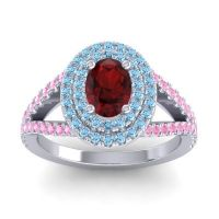Ornate Oval Halo Dhala Garnet Ring with Aquamarine and Pink Tourmaline in 18k White Gold