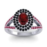 Ornate Oval Halo Dhala Garnet Ring with Black Onyx and Ruby in Platinum