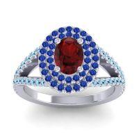 Ornate Oval Halo Dhala Garnet Ring with Blue Sapphire and Aquamarine in Palladium