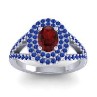 Ornate Oval Halo Dhala Garnet Ring with Blue Sapphire in 14k White Gold