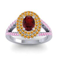 Ornate Oval Halo Dhala Garnet Ring with Citrine and Pink Tourmaline in 14k White Gold