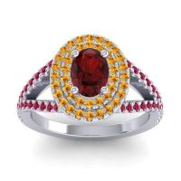 Ornate Oval Halo Dhala Garnet Ring with Citrine and Ruby in 18k White Gold