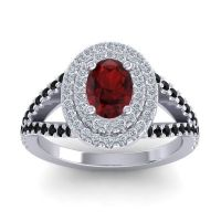 Ornate Oval Halo Dhala Garnet Ring with Diamond and Black Onyx in 18k White Gold