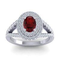 Ornate Oval Halo Dhala Garnet Ring with Diamond in Palladium