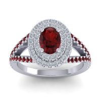 Ornate Oval Halo Dhala Garnet Ring with Diamond in Platinum