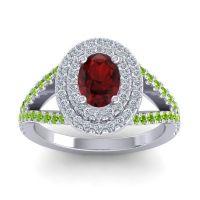 Ornate Oval Halo Dhala Garnet Ring with Diamond and Peridot in Palladium