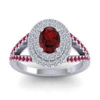 Ornate Oval Halo Dhala Garnet Ring with Diamond and Ruby in Palladium