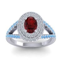 Ornate Oval Halo Dhala Garnet Ring with Diamond and Swiss Blue Topaz in 14k White Gold