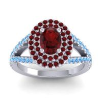Ornate Oval Halo Dhala Garnet Ring with Swiss Blue Topaz in Palladium