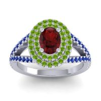 Ornate Oval Halo Dhala Garnet Ring with Peridot and Blue Sapphire in Palladium
