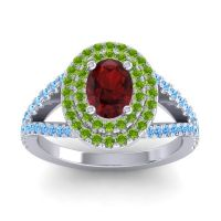 Ornate Oval Halo Dhala Garnet Ring with Peridot and Swiss Blue Topaz in Palladium
