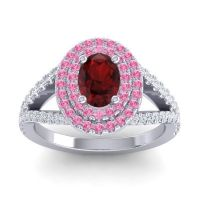 Ornate Oval Halo Dhala Garnet Ring with Pink Tourmaline and Diamond in Platinum