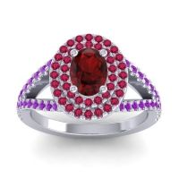 Ornate Oval Halo Dhala Garnet Ring with Ruby and Amethyst in Platinum
