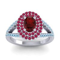 Ornate Oval Halo Dhala Garnet Ring with Ruby and Aquamarine in Platinum