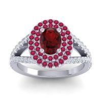 Ornate Oval Halo Dhala Garnet Ring with Ruby and Diamond in Platinum