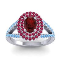 Ornate Oval Halo Dhala Garnet Ring with Ruby and Swiss Blue Topaz in Platinum