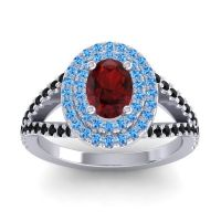 Ornate Oval Halo Dhala Garnet Ring with Swiss Blue Topaz and Black Onyx in 14k White Gold