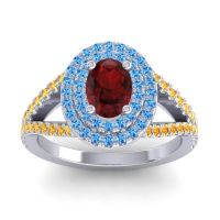 Ornate Oval Halo Dhala Garnet Ring with Swiss Blue Topaz and Citrine in 14k White Gold