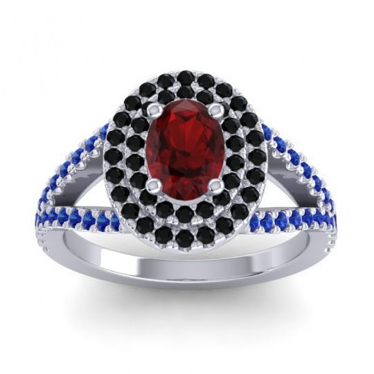 Ornate Oval Halo Dhala Garnet Ring with Black Onyx and Blue Sapphire in 14k White Gold