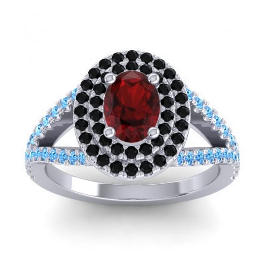 Ornate Oval Halo Dhala Garnet Ring with Black Onyx and Swiss Blue Topaz in 18k White Gold
