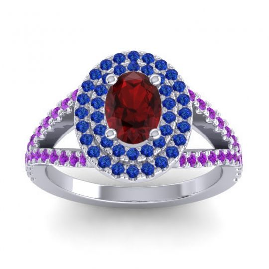 Ornate Oval Halo Dhala Garnet Ring with Blue Sapphire and Amethyst in Platinum