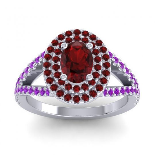 Ornate Oval Halo Dhala Garnet Ring with Amethyst in 14k White Gold