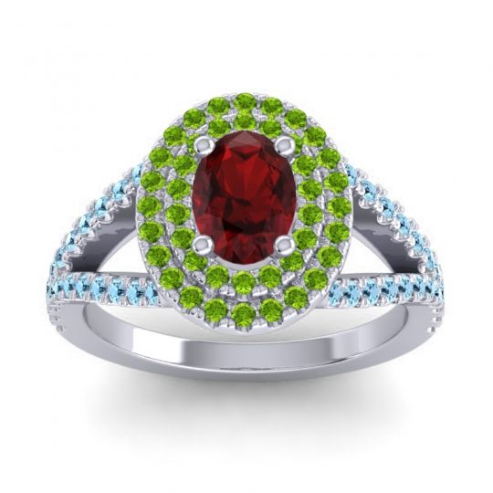 Ornate Oval Halo Dhala Garnet Ring with Peridot and Aquamarine in 14k White Gold
