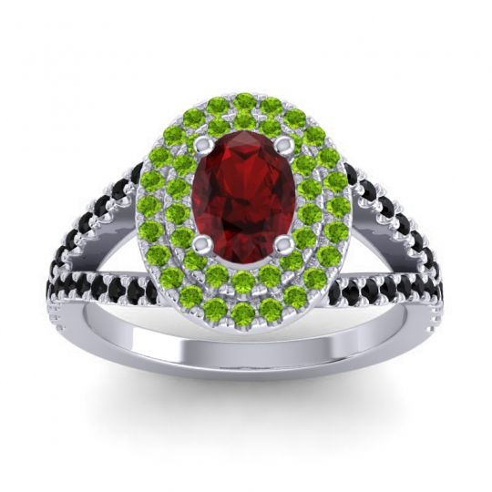 Ornate Oval Halo Dhala Garnet Ring with Peridot and Black Onyx in 14k White Gold